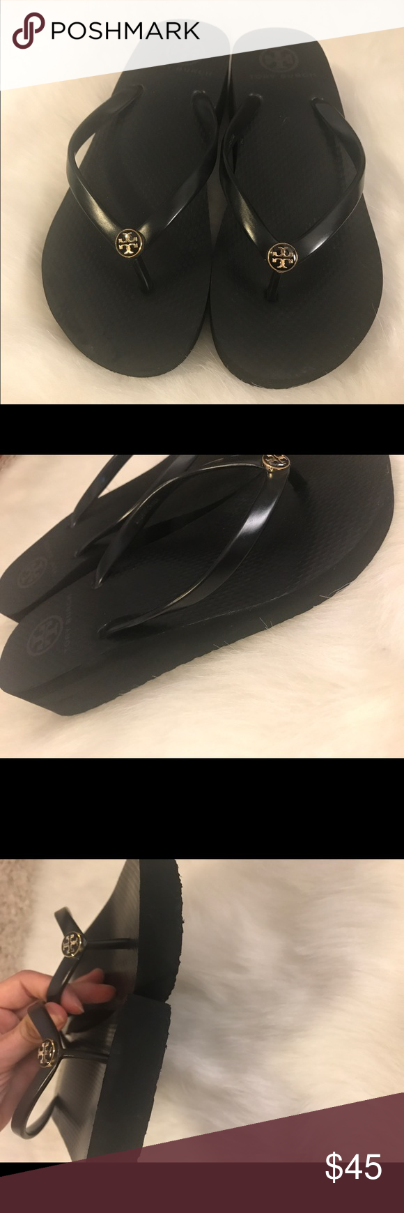 84816e168263f1 Tory Burch Black Thandie Rubber Wedge Flip Flop Only worn a handful of  times.
