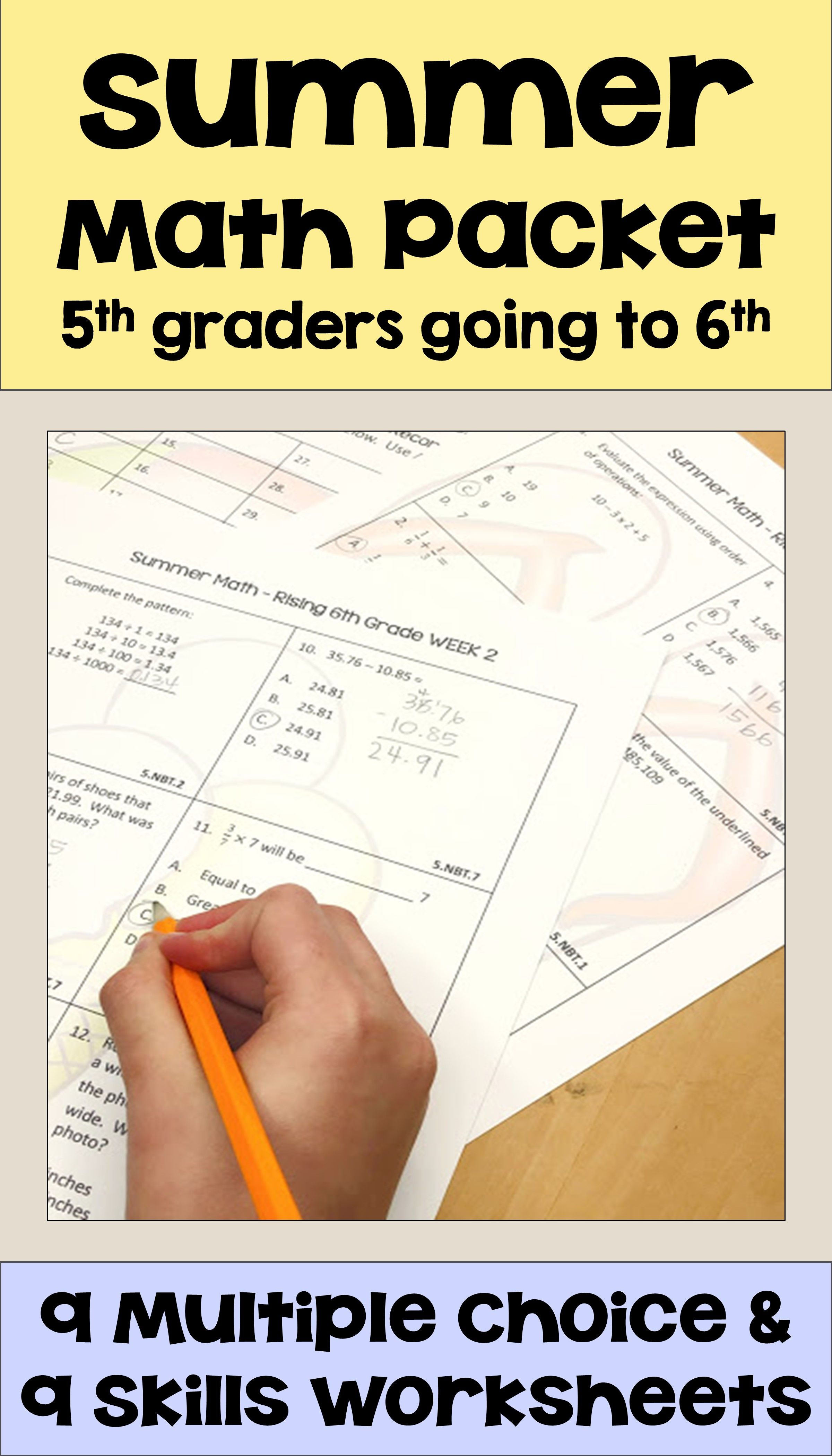 Summer Math Packet for Rising 6th Graders - Review of 5th Grade Math   Math  packets [ 4200 x 2400 Pixel ]