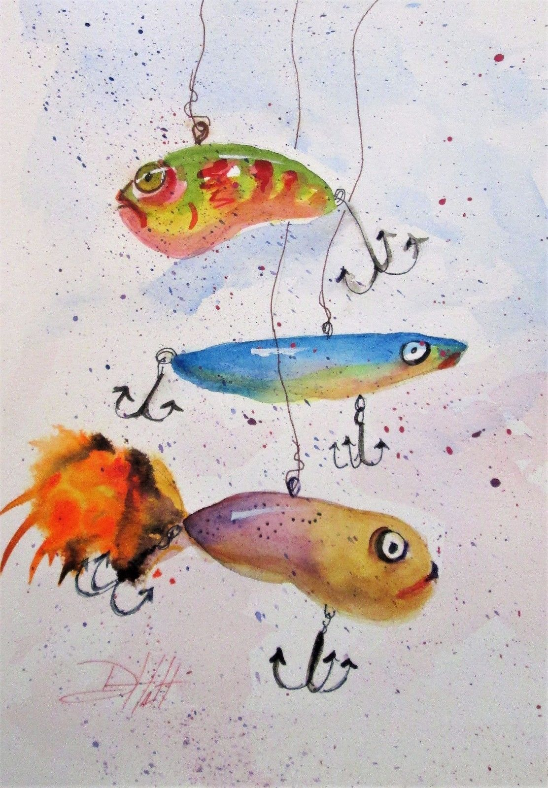 Fishing Lures Original 12 X 9 Watercolor Painting Art Cottage