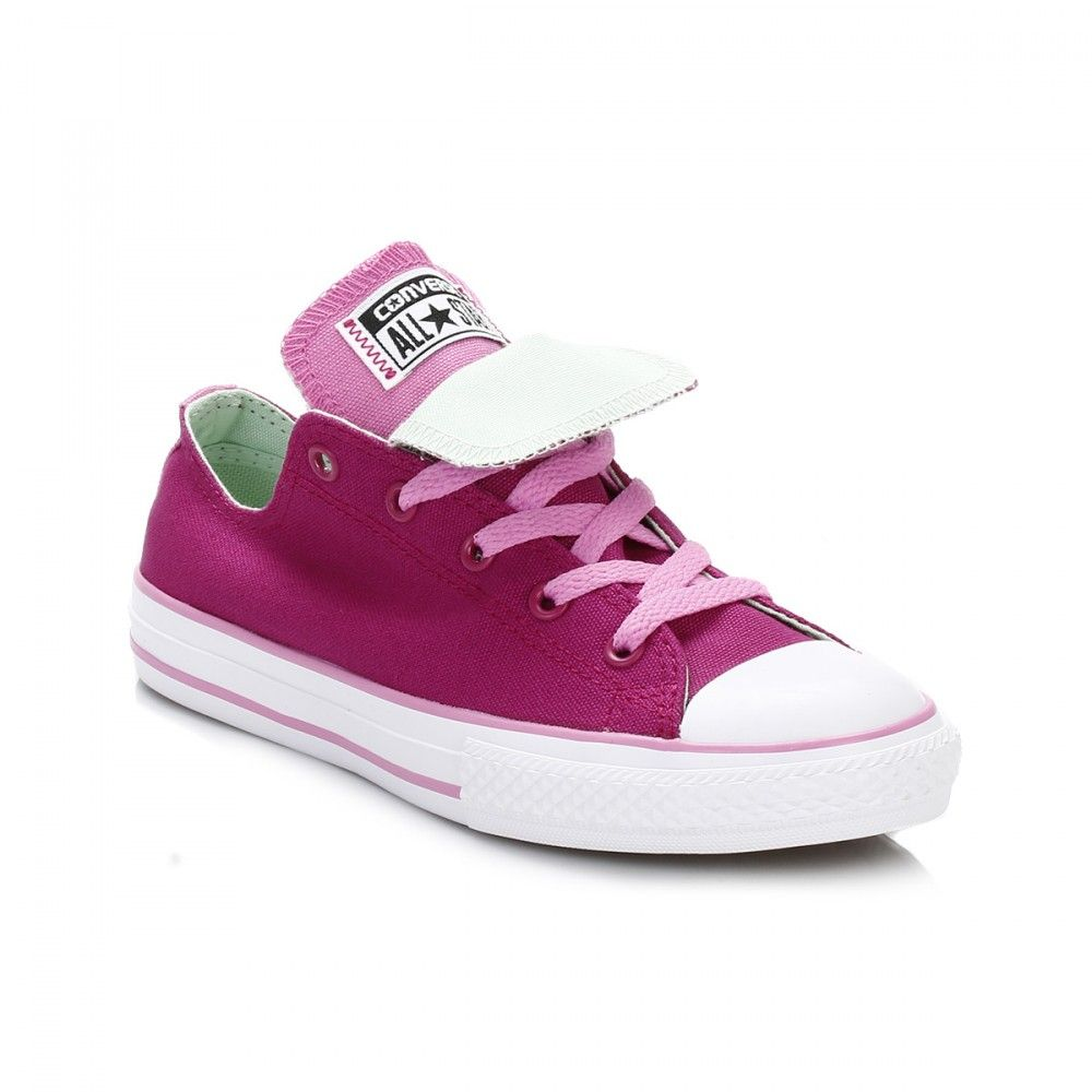 59c4a61c6473 Converse Kids Pink Sapphire Double Tongue All Star Low Trainers ...