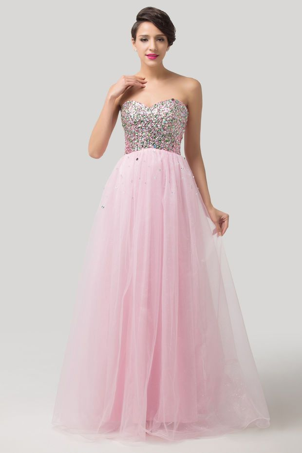 Pink Sweetheart Strapless Sequins Beaded Flowing Evening Dress ...