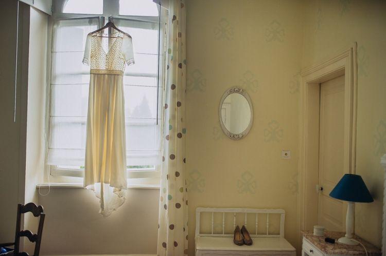 3/4 length sleeve flower applique Laure de Sagazan wedding dress | Photography by http://www.pereymarga.com/