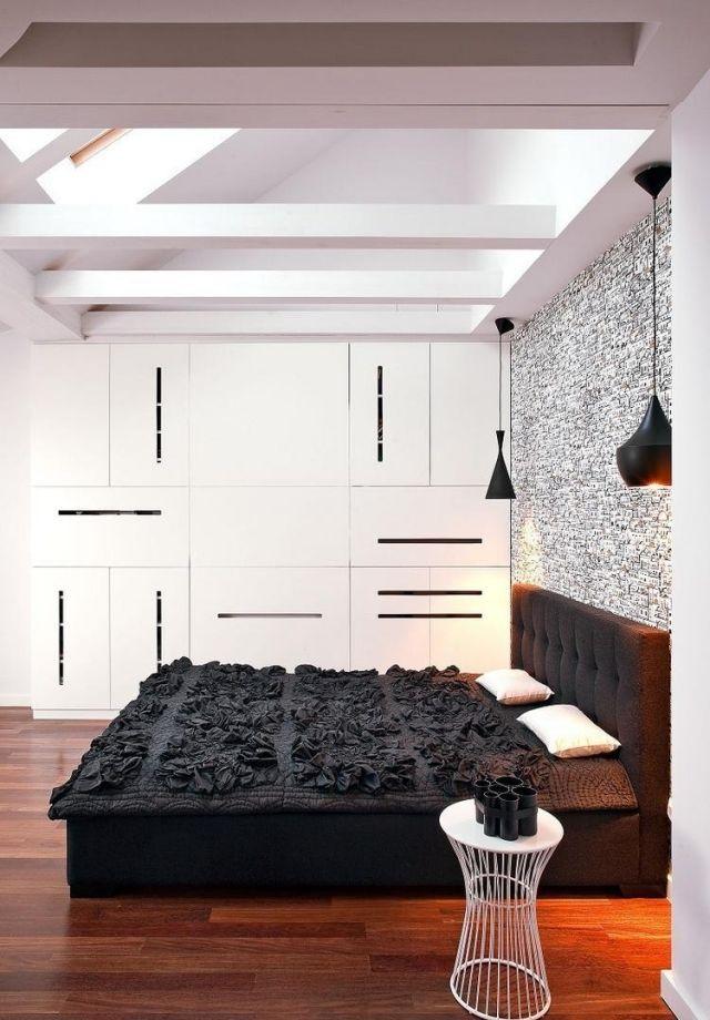 farbgestaltung im schlafzimmer-ideen-modern-schwarz-weiss - wohnideen fürs schlafzimmer