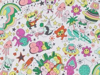 CAC0080- 100% Cotton Fabric: All-Over Hawaiian Print Fabric