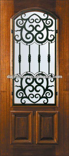 De Hierro Forjado De Vidrio Puerta De Madera Exterior Dj S5331mw 4 Imagen Puerta Identificacion Del Producto 554478968 S Mahogany Doors Iron Doors Single Doors