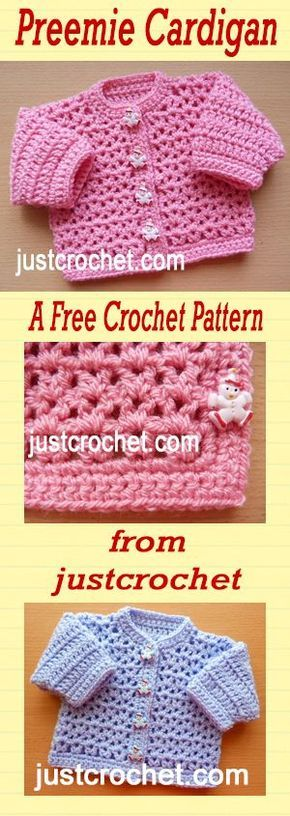 Free crochet pattern for premature baby cardigan. | Crochet baby ...