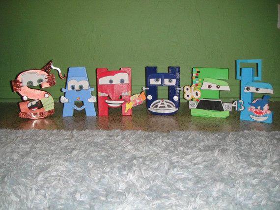 Disney pixar cars themed letter art by gunnersnook on etsy for Disney pixar cars bedroom ideas