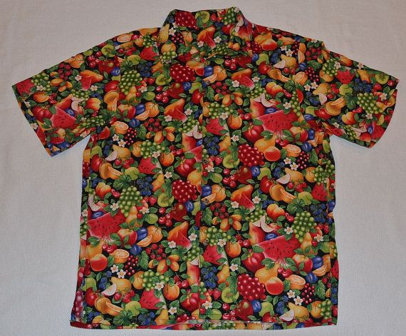 482c7c15 Vintage 80s Shirt Hand Made All Over Loud Fruit by SuperMamaVintage, $14.99  Hawaiian