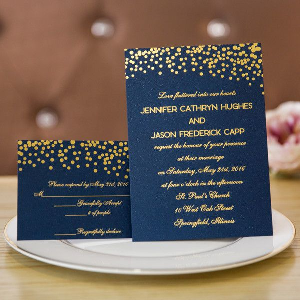 Gold And Blue Wedding Invitations: Foil Gold Polka Dots And Navy Blue Wedding Invitation