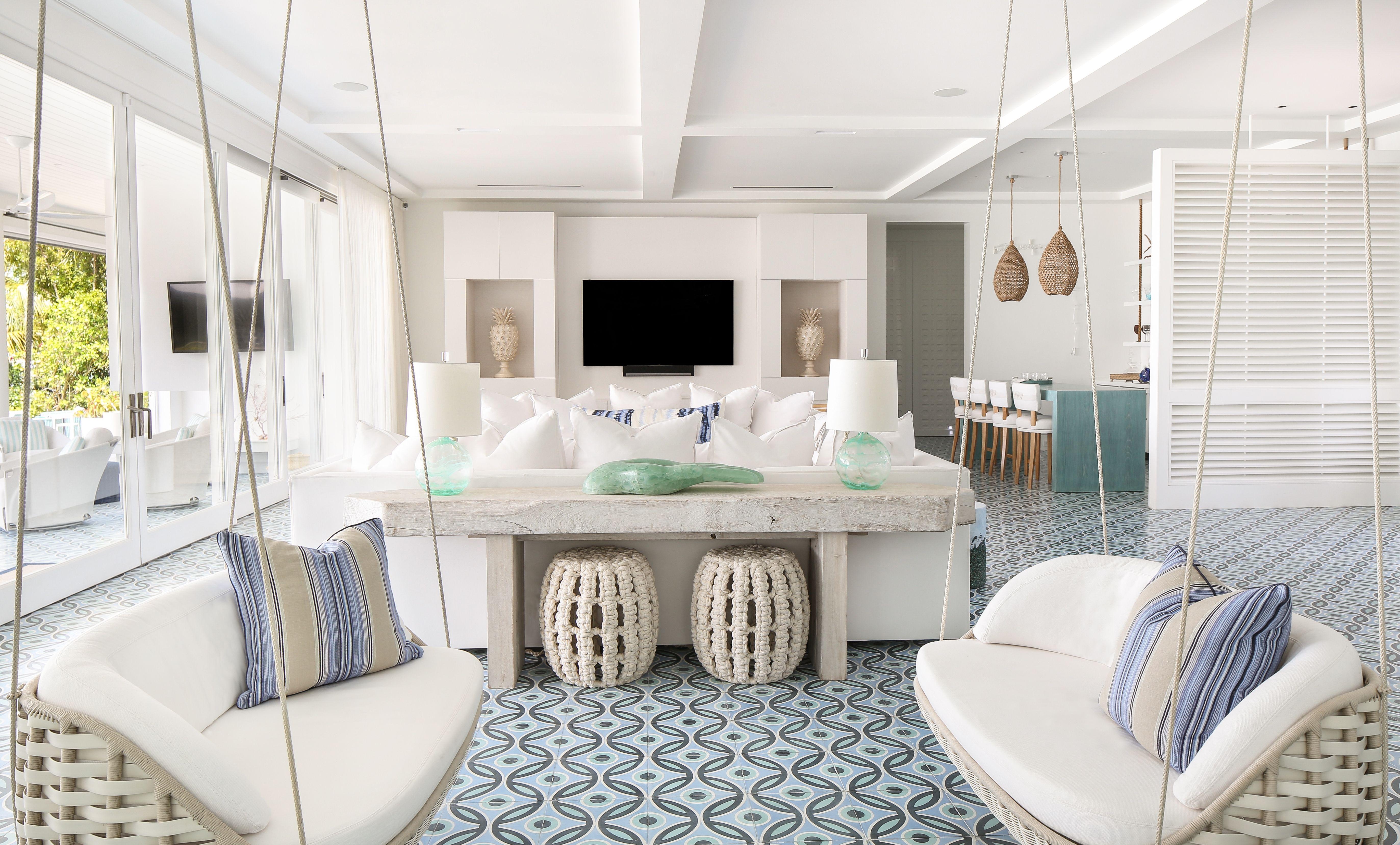 Living Room Livingroom Hangingchairs Bahamas Beachhouse