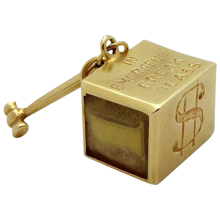 Vintage 14k Gold Emergency Mad Money Charm With Hammer 5 0 Grams 14k Gold Gold Vintage Charms