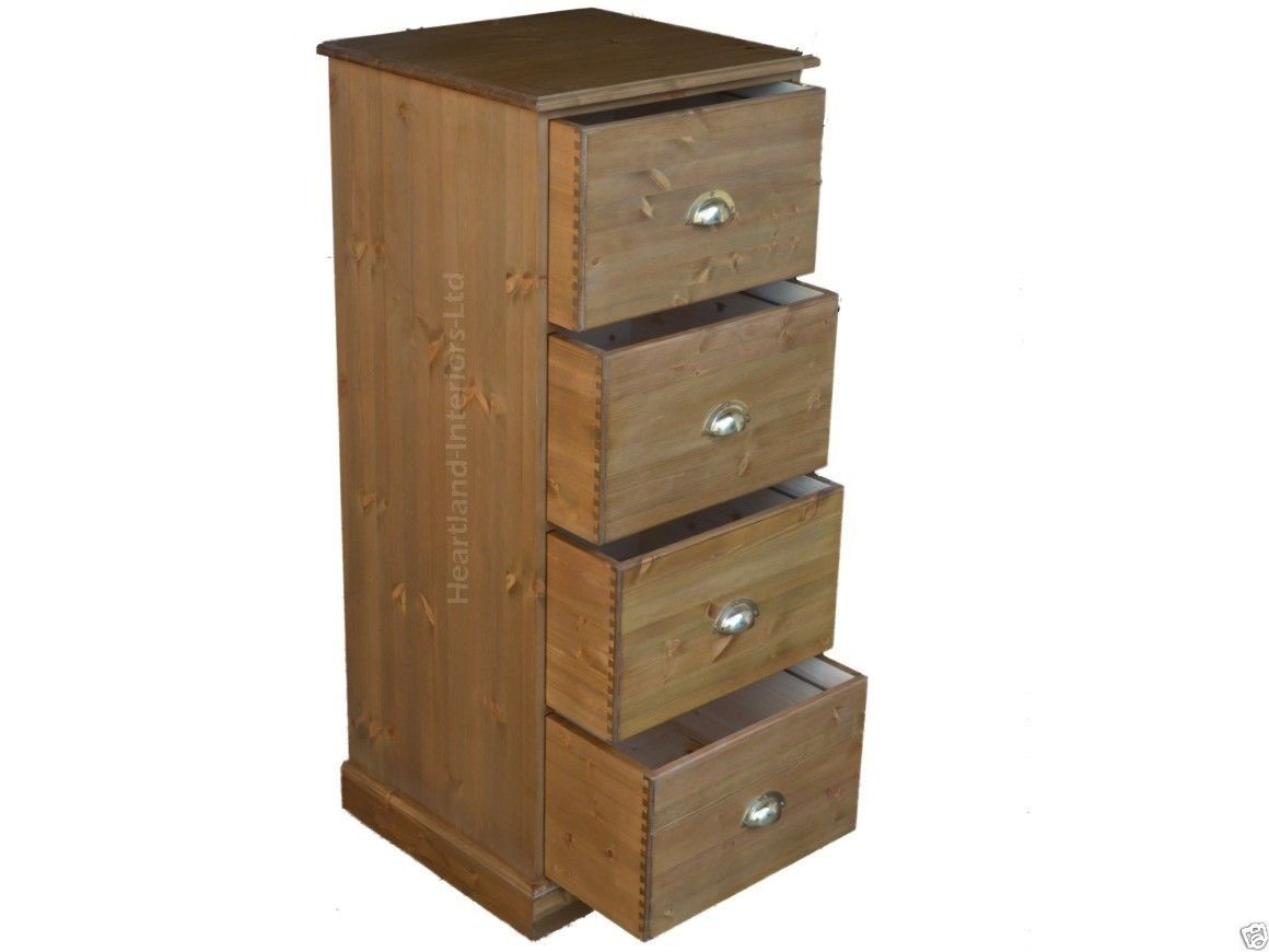 Traditional Solid Pine Or Oak Folio 4 Drawer Filing Cabinet