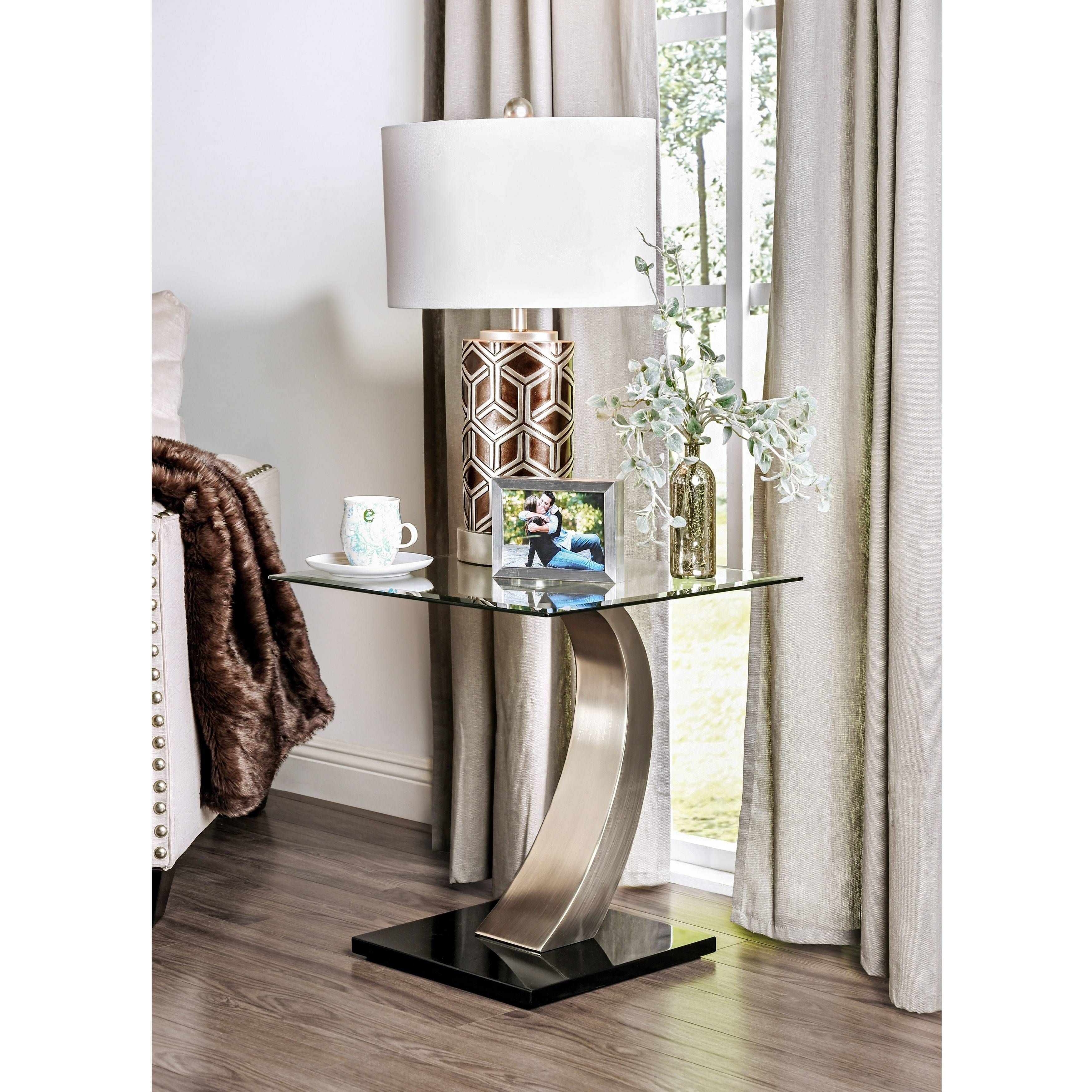 Modern glass end table  Carmella Modern Satin Plated End Table  Products  Pinterest