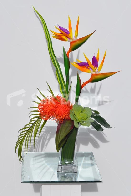 Tropical Artificial Bird Of Paradise And Succulent Floral Table Arrangement Trop Tall Floral Arrangements Tropical Flower Arrangements Birds Of Paradise Flower