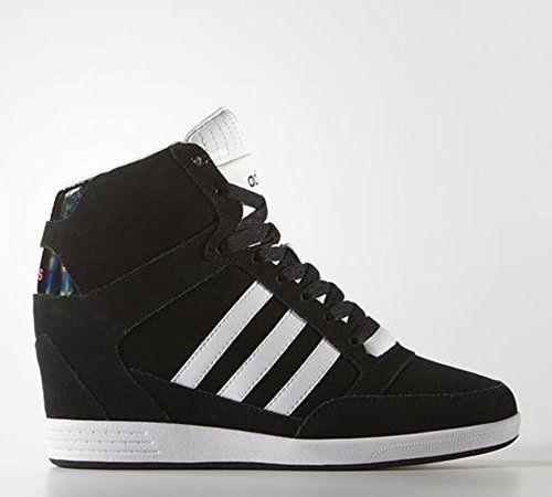 brand new b1d21 85e54 adidas NEO Womens Super Wedge W High-Top Fashion Sneaker,BlackWhite