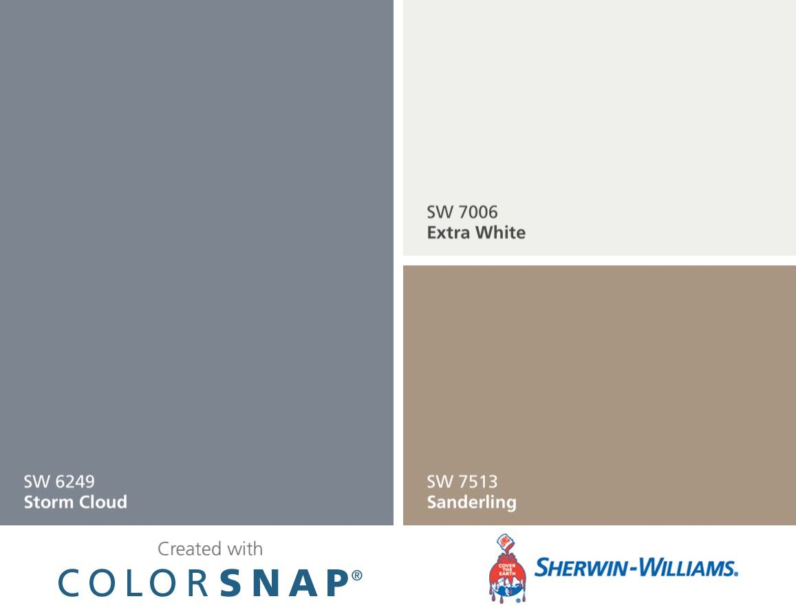Great Color Combo!! Sherwin Williams Colors. Storm Cloud, Extra White And  Sanderling