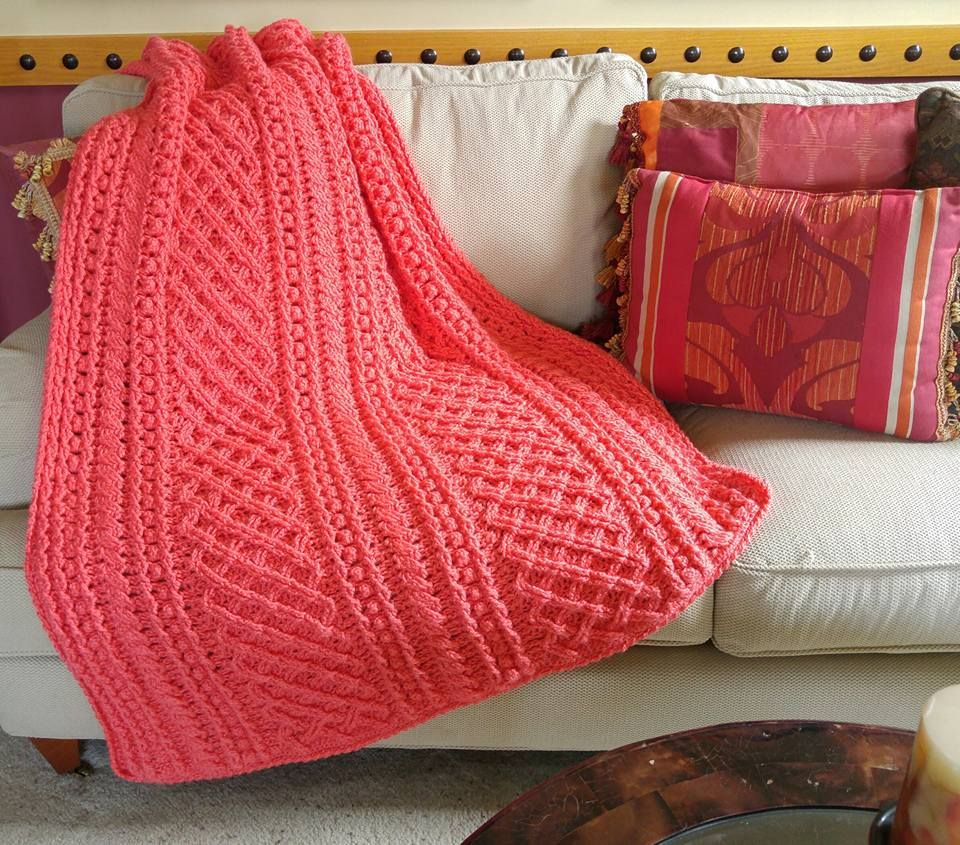 The Lattice Weave Throw by Red Heart in Red Heart Soft, Coral ...