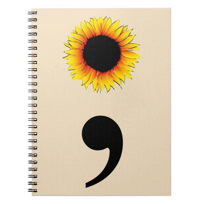 Sunflower Semicolon Notebook | Zazzle.com