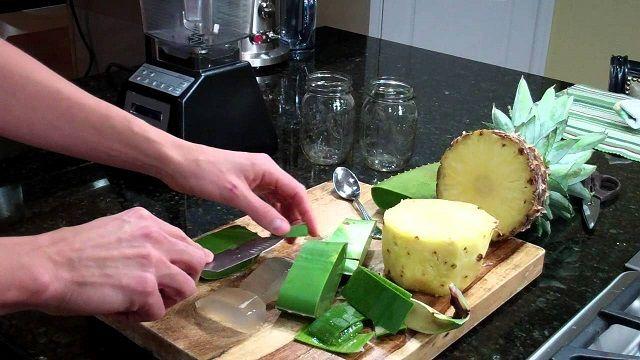 Batido de pina pepino manzana y sabila para adelgazar