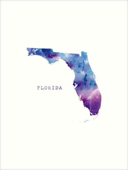 Florida Art Print By Monnprint Map Of Florida Florida Art Country Flags Icons