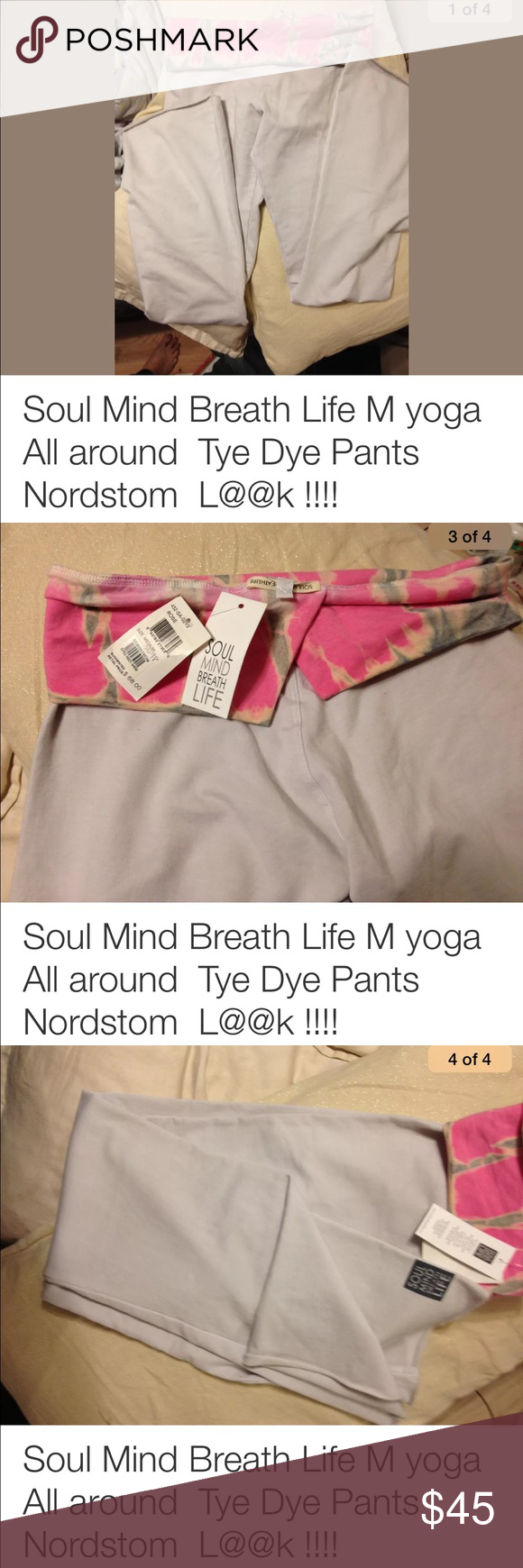 Yoga pants light gray with tye die foldover lg Soul mind breath life bought from Nordstrom tags attached Soul mind breath life Pants Boot Cut & Flare