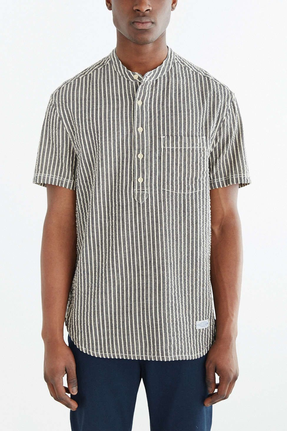 Cpo short sleeve seersucker stripe popover shirt for Mens short sleeve seersucker shirts