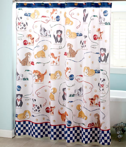 Dog Themed Shower Curtain Whimsical Poly Fabric Kids Bathroom