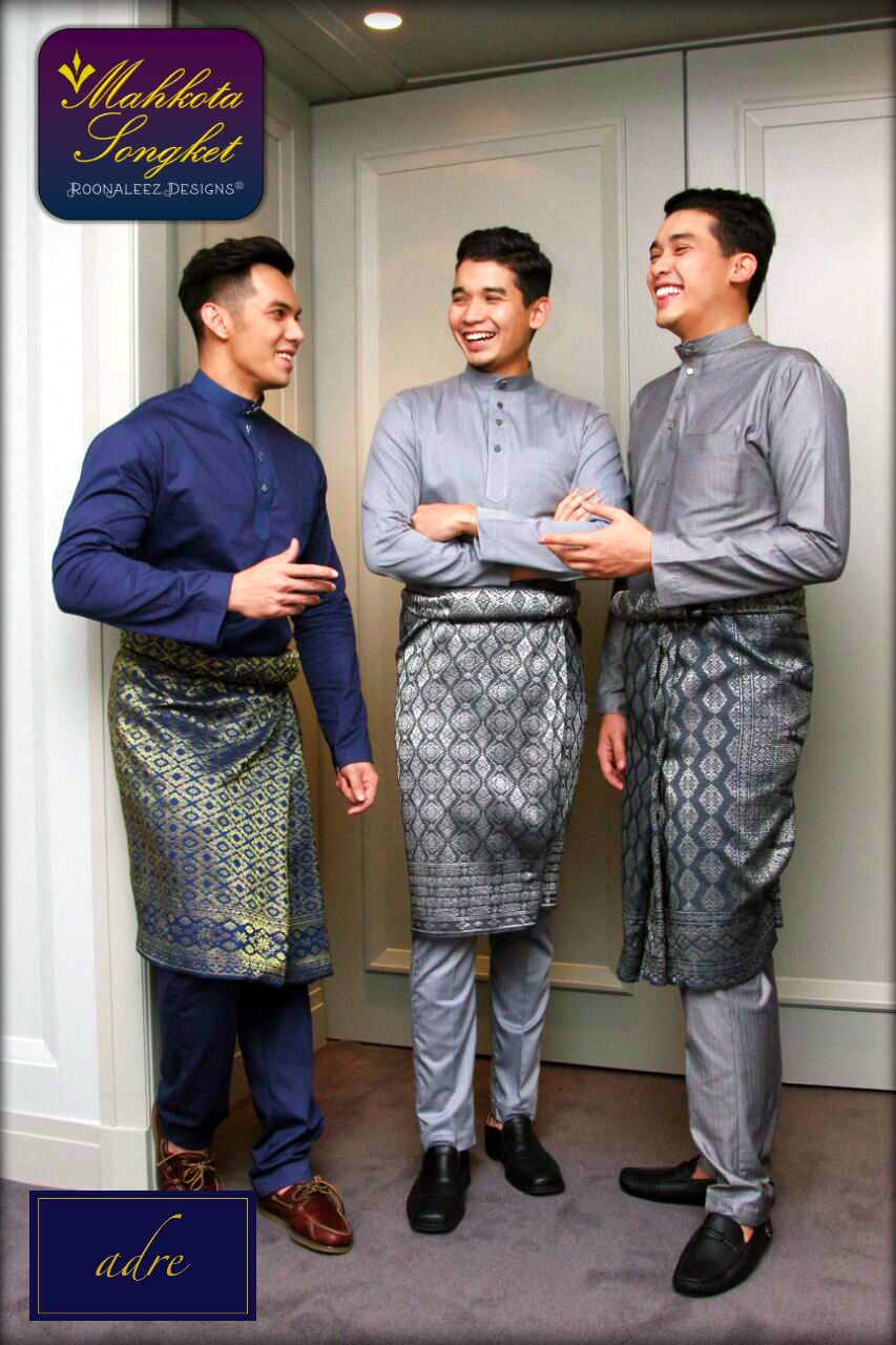 Our Machine-woven Sampin Songket with modern-cutting Baju Melayu  exclusively made by adre