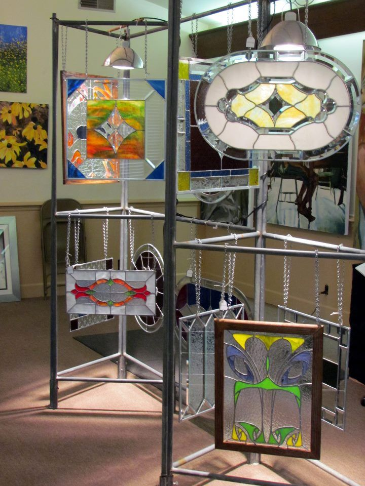 Side view of my first art show display, stained glass
