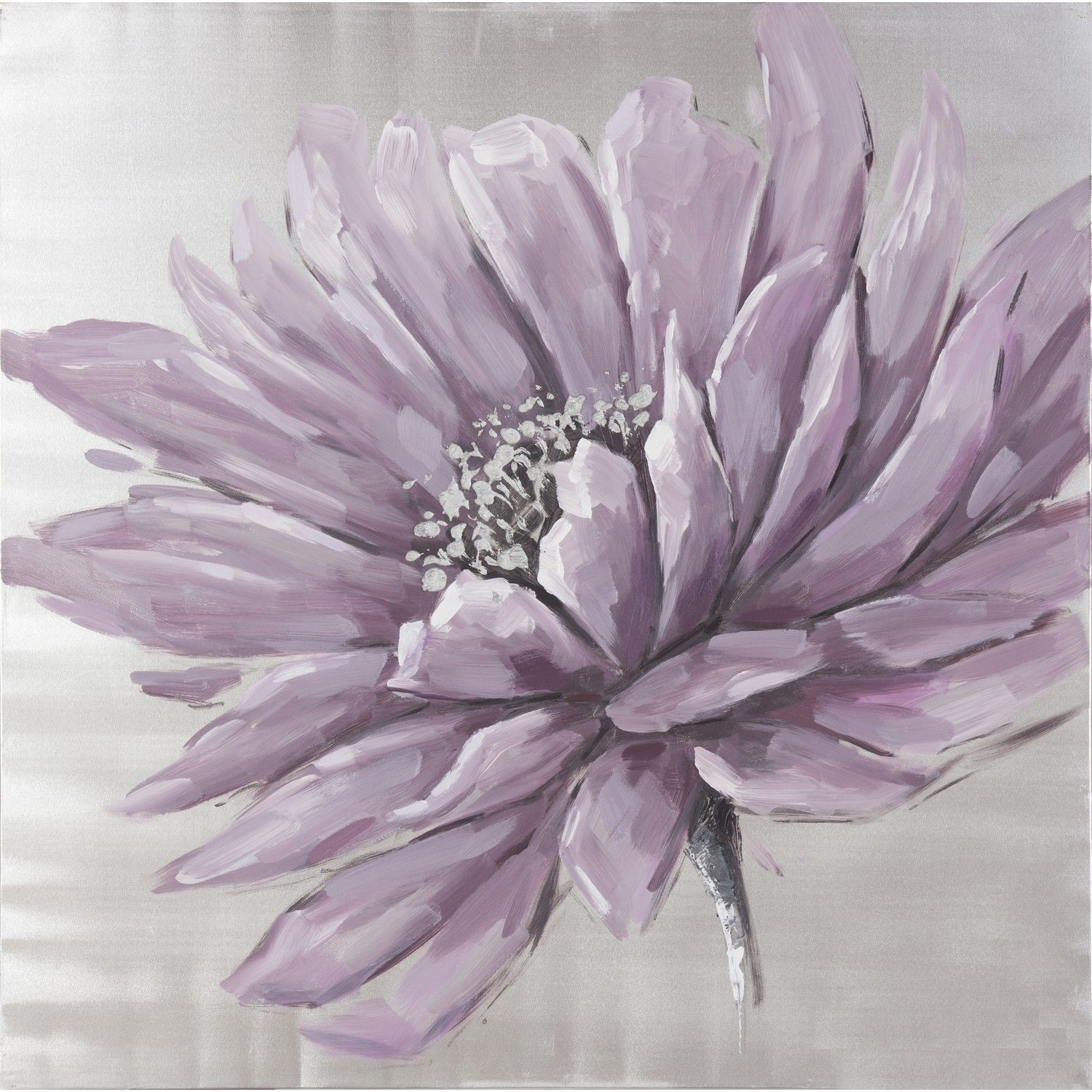 Buy Hand painted silver plum floral canvas | Gallery | The Range
