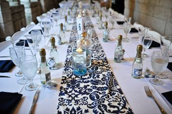 Table Runners U2013 Navy Blue Damask (and Other Silver/blue/white Items)