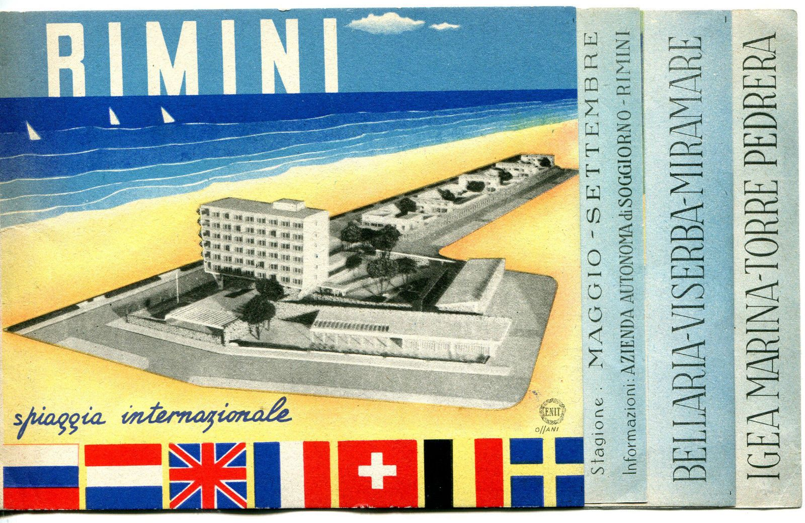 Details zu DEPLIANT,1948,OSSANI,RIMINI SPIAGGIA INTERNAZIONALE,IGEA ...