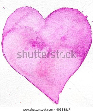 water color - pink heart