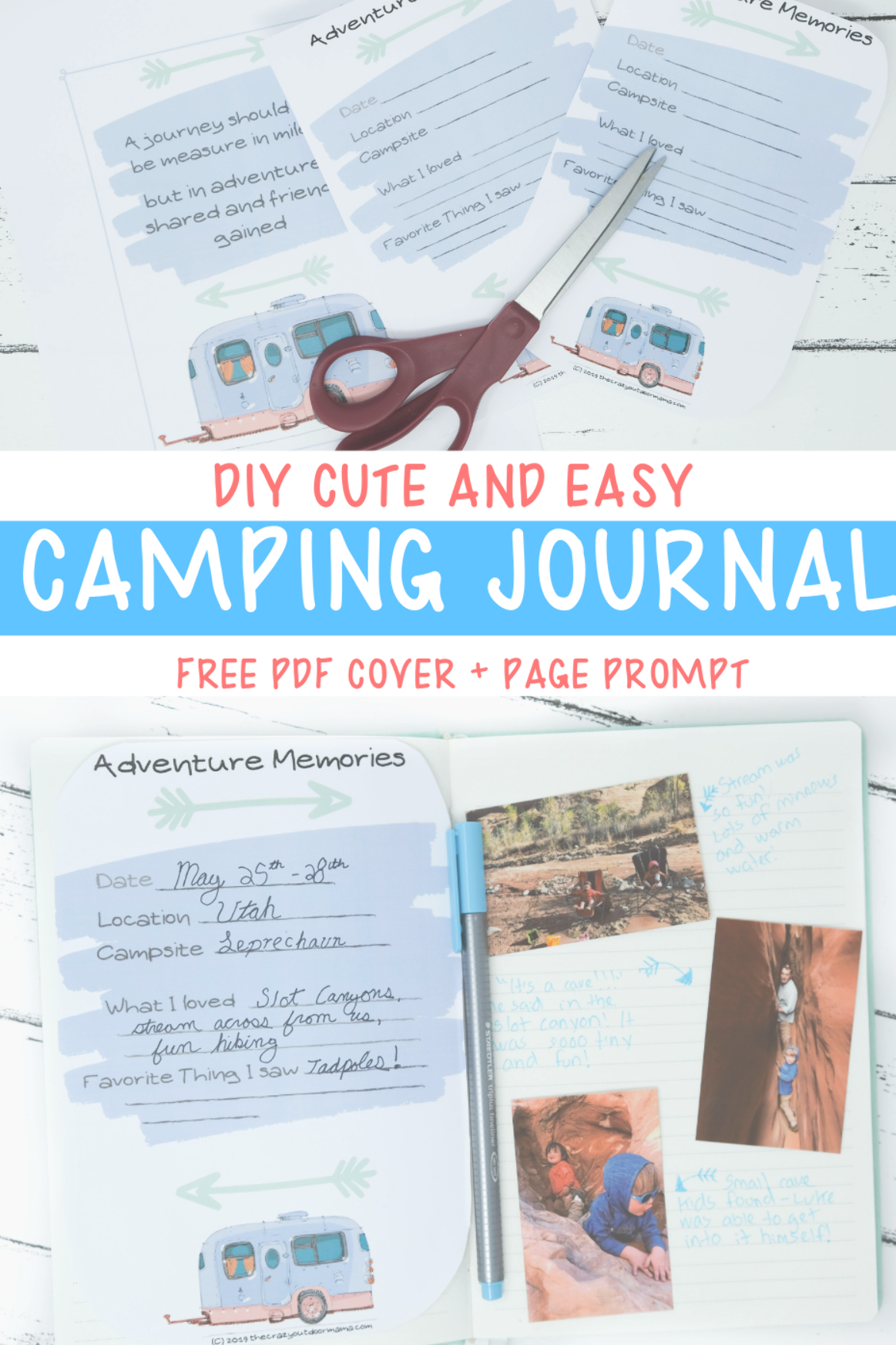 Remember all your awesome camp trips with the kids in your very own DIY camping journal! With a cut