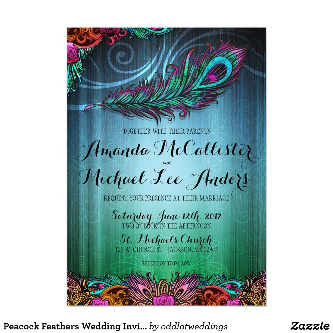 Peacock Feathers Wedding Invitation Peacock Feathers And Weddings