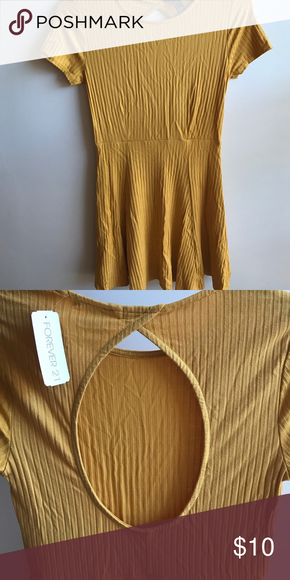 Ribbed Mustard Skater dress Cut-Out in the back Forever 21 Dresses Mini