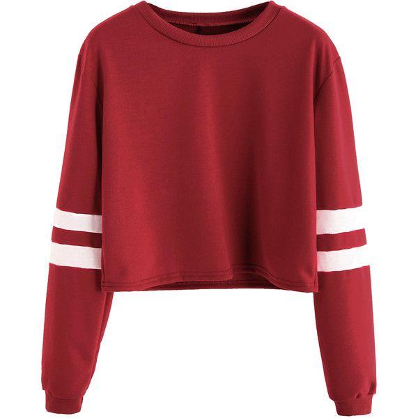 c930f12d264b3 SheIn(sheinside) Varsity Striped Sleeve Crop T-shirt (35 BRL ...