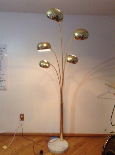 5 Arm Brass Arc Floor Lamp With Marble Base Goldtone Italian Mid