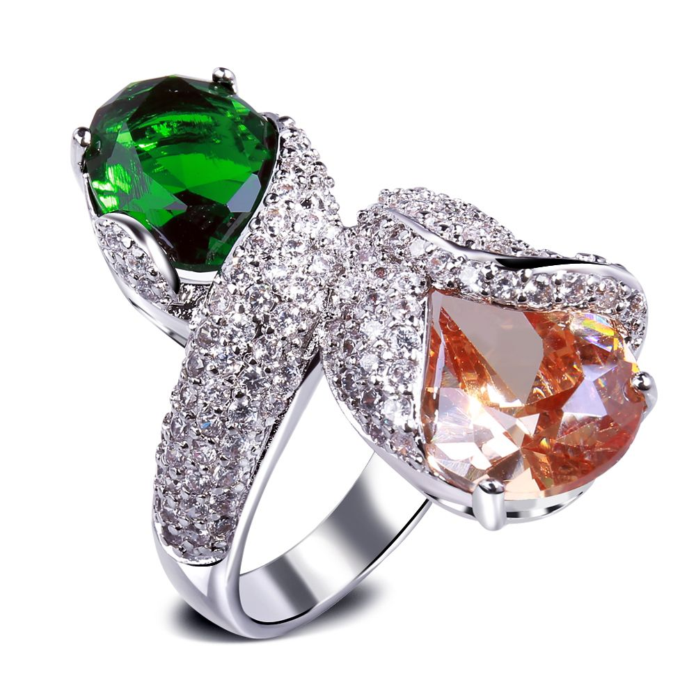 Rings for women with Cubic zirconia big color stone Luxury Ring ...