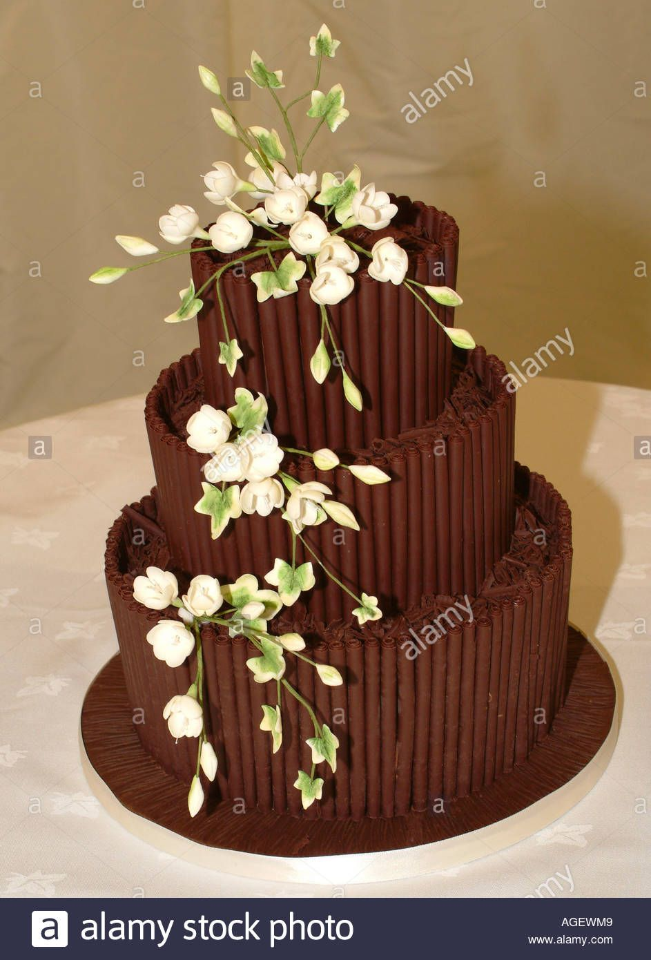 Tiered Chocolate Wedding Cake Decorated With White Edible ...