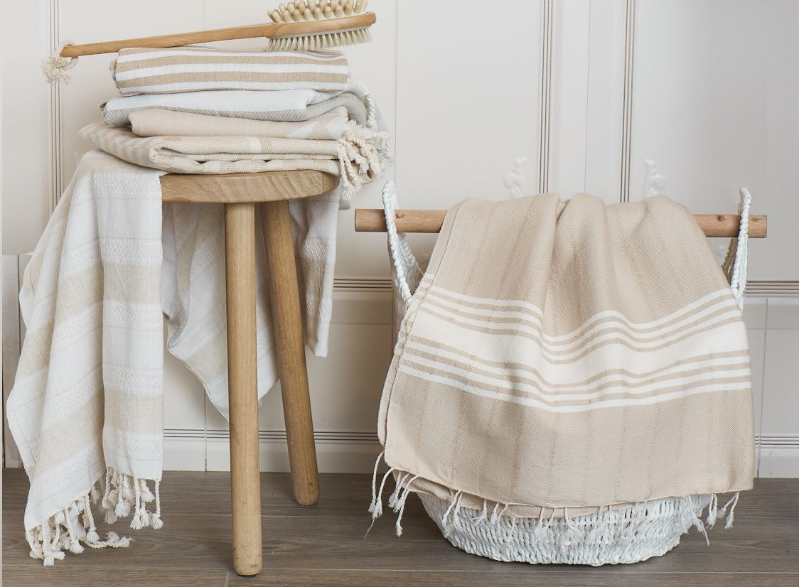 Creme Linen And Cotton Beige Turkish Bath Towel With Hand Knotted