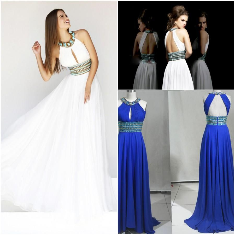 Formal evening dresses real image sexy halter white blue chiffon