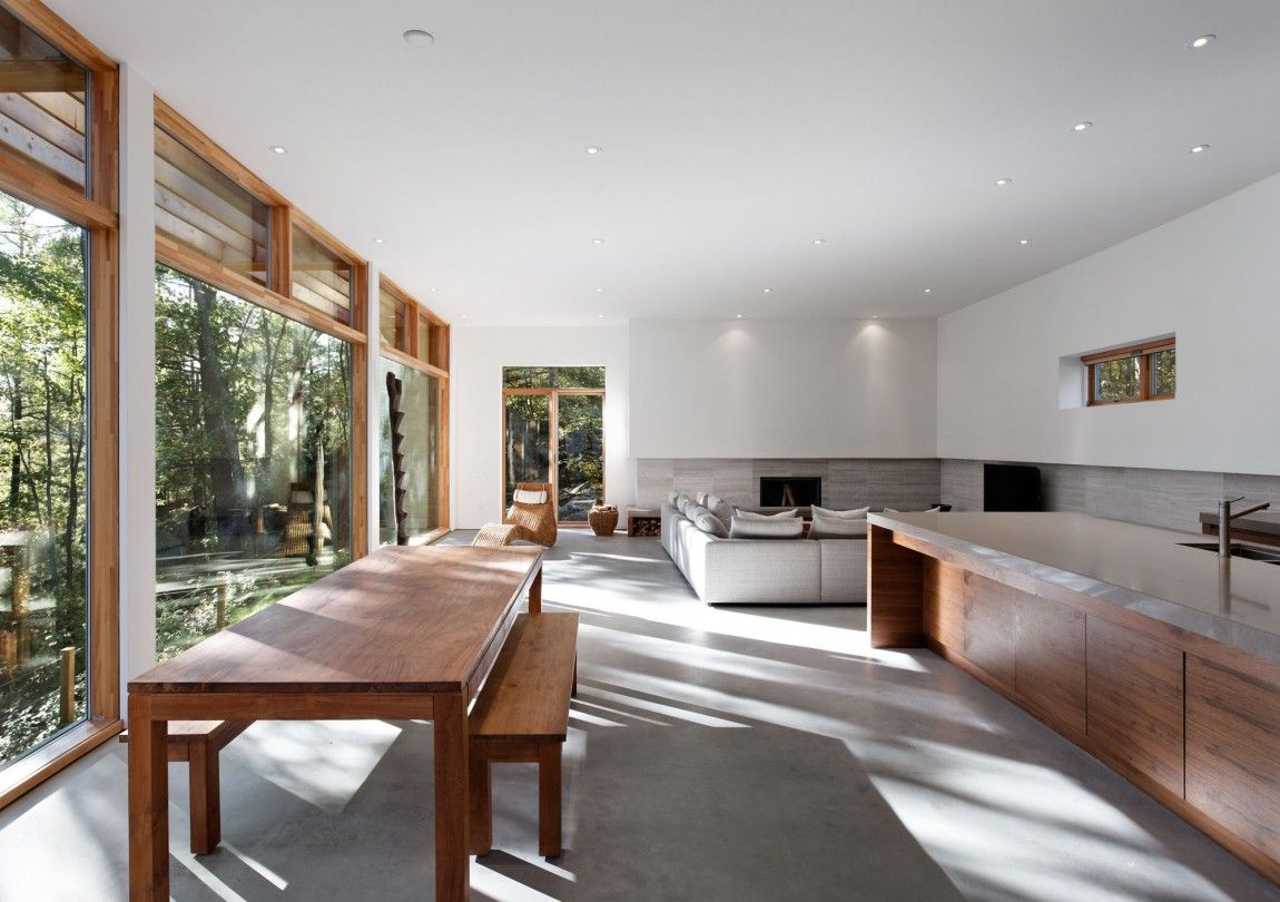 Big Island Bench Large Windows To Nature High Louvres  Ideas Adorable Open Living Kitchen Design Inspiration