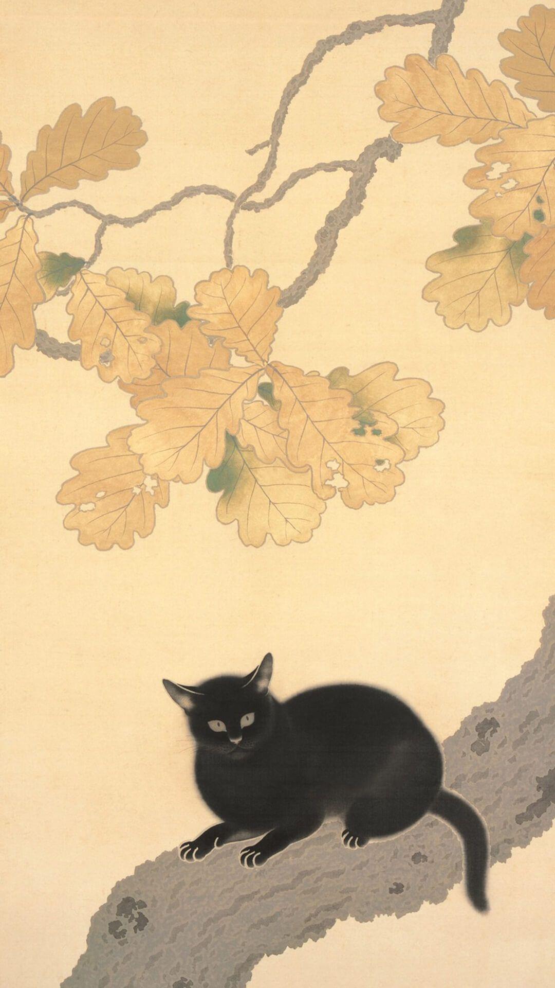 菱田春草 黒き猫 壁紙ギャラリー Kagirohi 猫のイラスト キャットアート 猫 イラスト かわいい