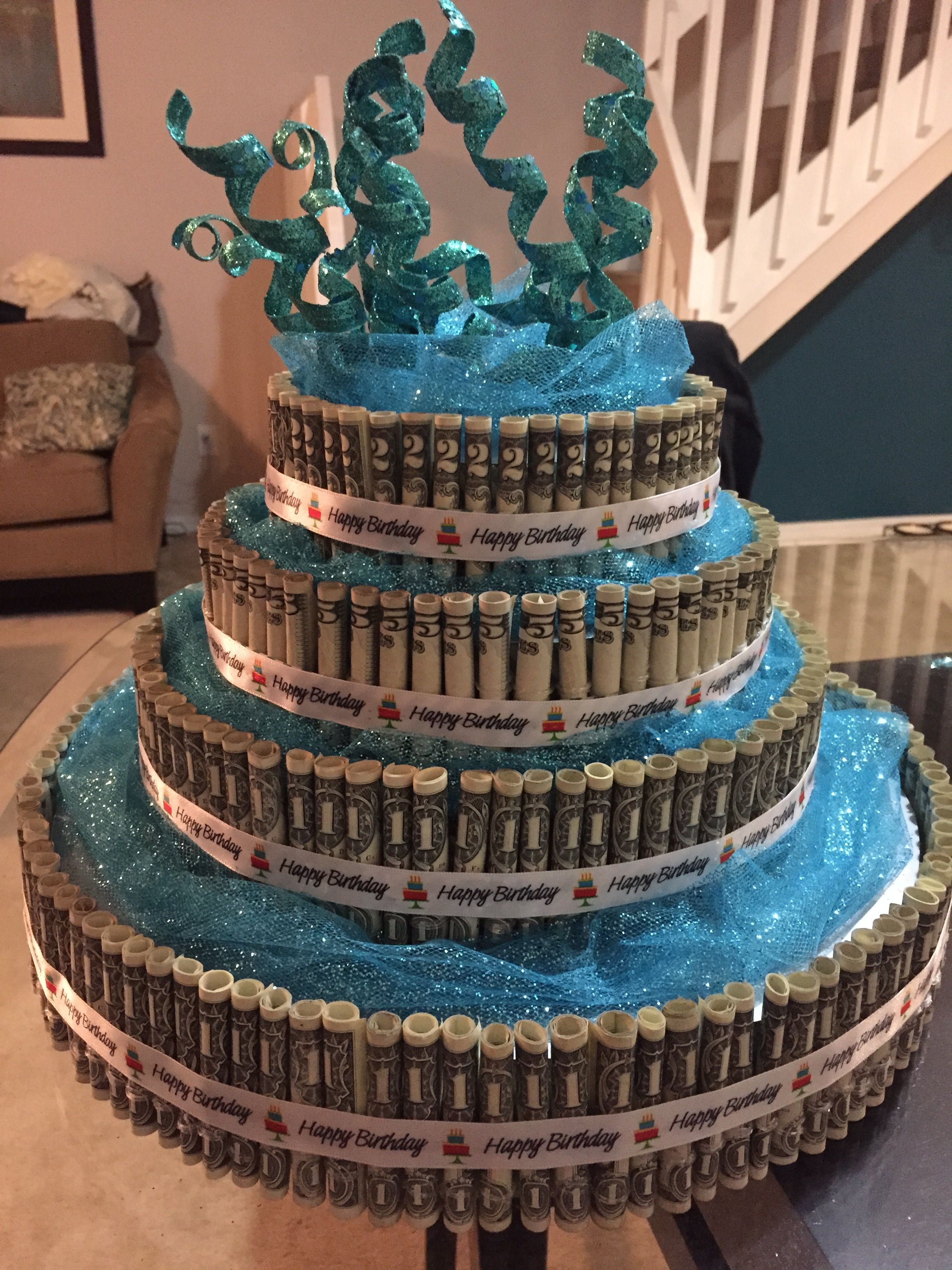 Dollar Bill Cake 4 Tiers Made From Floral Rounds Sweet 16 Cake 1