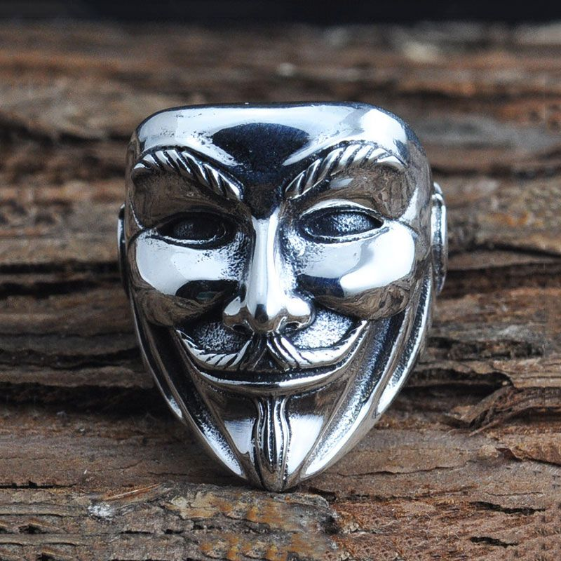 wholesale pin gift kinel unique silver rings jewelry plating punk ring face human man halloween vintage