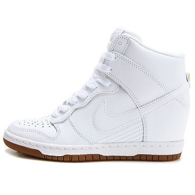 finest selection 1f28a 4e6ba Nike Dunk Sky Hi Essential Womens 644877-103 White Gum Wedge Sneakers Size  8.5