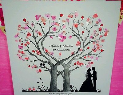 herz wedding tree hochzeit baum g stebuch fingerabdruck geschenk leinwand in kleidung. Black Bedroom Furniture Sets. Home Design Ideas