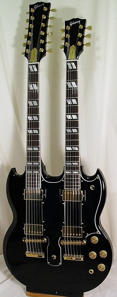 Double your pleasure: Gibson EDS-1275 refinished in Black with gold hardware