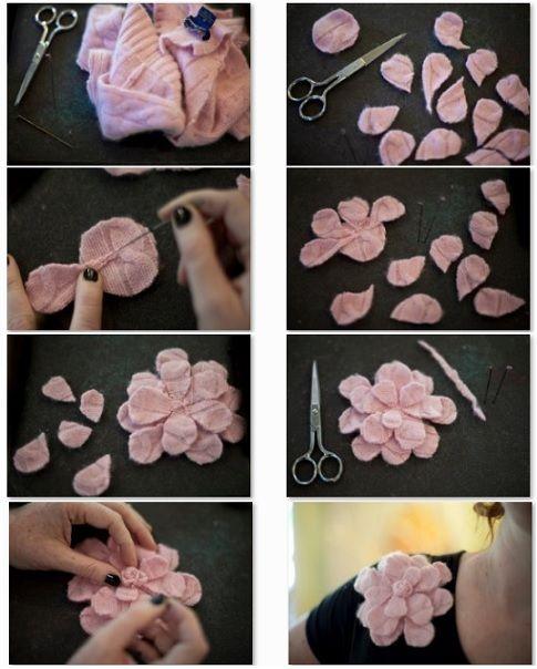 Prendedores de flores de tela moldes para manualidades - Manualidades de tela para el hogar ...